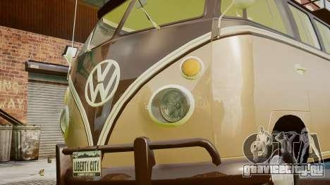 Volkswagen Transporter 1962 для GTA 4 вид изнутри