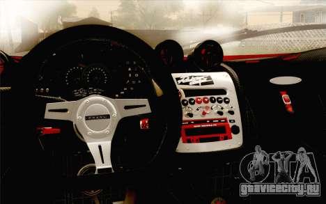 Pagani Zonda Cinque для GTA San Andreas вид изнутри