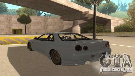Nissan Skyline R34 для GTA San Andreas вид сзади