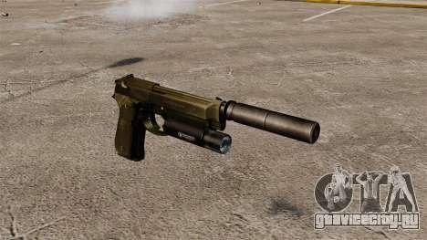 Самозарядный пистолет Beretta 92 с глушителем для GTA 4
