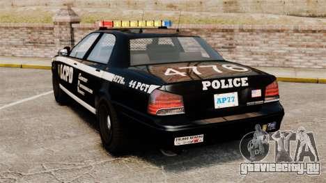 GTA V Vapid Police Cruiser [ELS] для GTA 4 вид сзади слева