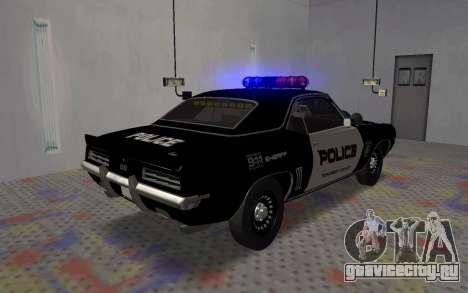 Chevrolet Camaro SS Police для GTA San Andreas вид сзади слева