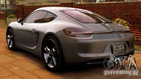 Porsche Cayman 981 S v2.0 для GTA 4 вид сзади