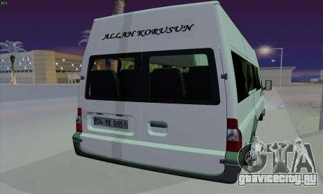 Ford Transit Jumgo для GTA San Andreas вид сзади