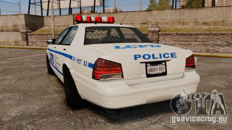 GTA V Police Vapid Cruiser LCPD для GTA 4 вид сзади слева
