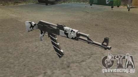 Автомат AK-47 зимний для GTA 4