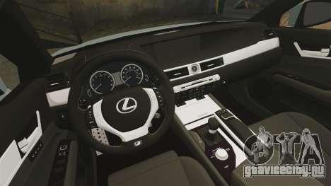 Lexus GS 350 2013 для GTA 4 вид изнутри