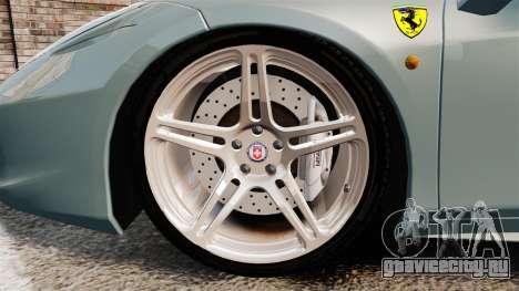 Ferrari 458 Italia 2009 для GTA 4 вид сзади