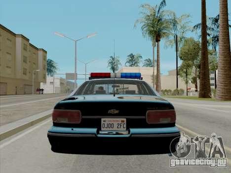 Chevrolet Caprice LAPD 1991 [V2] для GTA San Andreas вид сзади слева