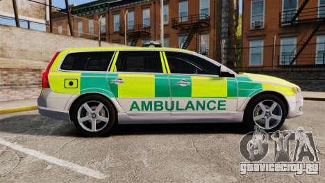 Volvo V70 Ambulance [ELS] для GTA 4 вид слева