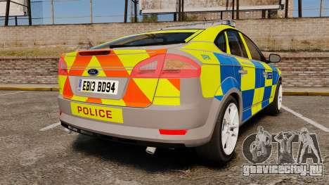 Ford Mondeo Metropolitan Police [ELS] для GTA 4 вид сзади слева