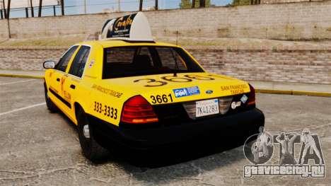Ford Crown Victoria 1999 SF Yellow Cab для GTA 4 вид сзади слева