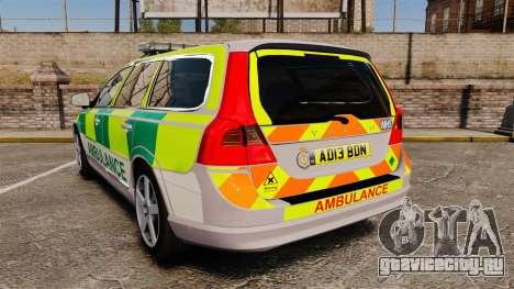 Volvo V70 Ambulance [ELS] для GTA 4 вид сзади слева