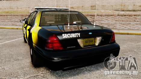 Ford Crown Victoria 2008 Security Patrol [ELS] для GTA 4 вид сзади слева