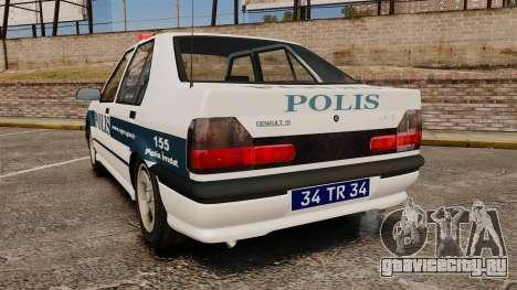Renault 19 Turkish Police для GTA 4 вид сзади слева