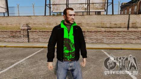 Чёрная куртка с зелёной олимпийкой для GTA 4