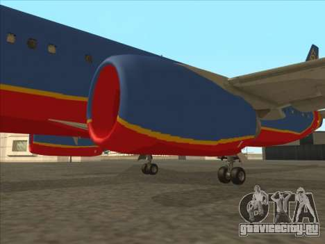 Boeing 737 Southwest Airlines для GTA San Andreas вид снизу