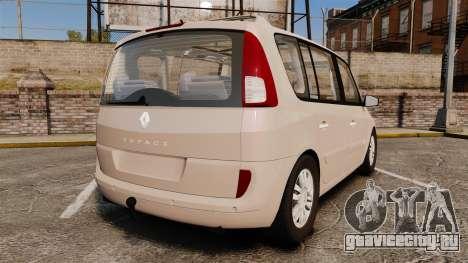 Renault Espace IV Initiale v1.1 для GTA 4 вид сзади слева