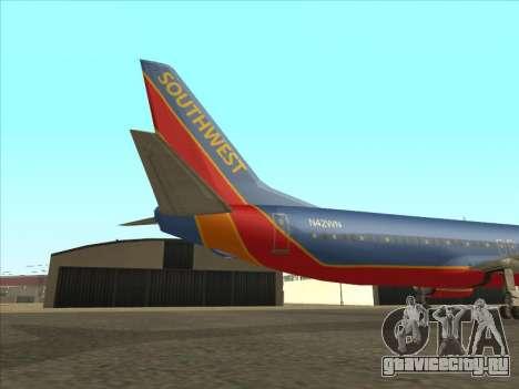 Boeing 737 Southwest Airlines для GTA San Andreas вид сзади
