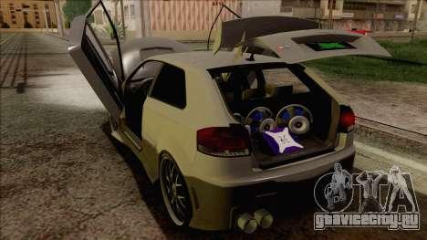 Audi S3 для GTA San Andreas вид изнутри