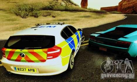BMW 120i SE Police для GTA San Andreas вид изнутри