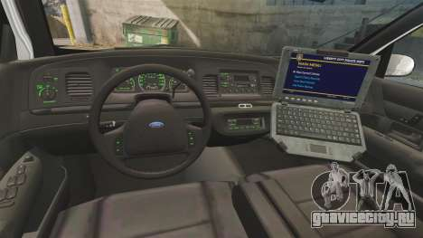 Ford Crown Victoria 1999 U.S. Border Patrol для GTA 4 вид сзади
