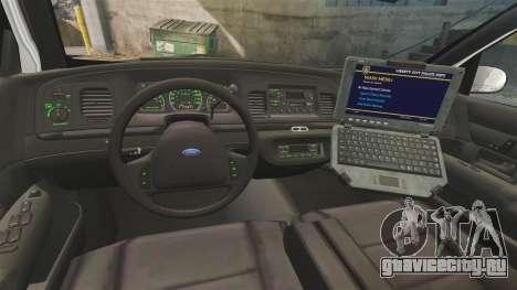 Ford Crown Victoria 1999 U.S. Border Patrol для GTA 4 вид сзади