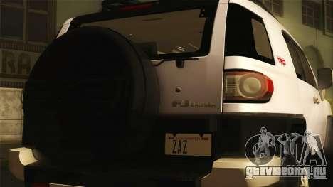Toyota FJ Cruiser 2012 для GTA San Andreas вид сзади слева