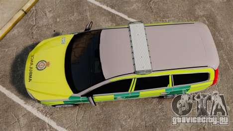 Volvo V70 Ambulance [ELS] для GTA 4 вид справа