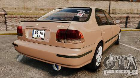 Honda Civic для GTA 4 вид сзади слева