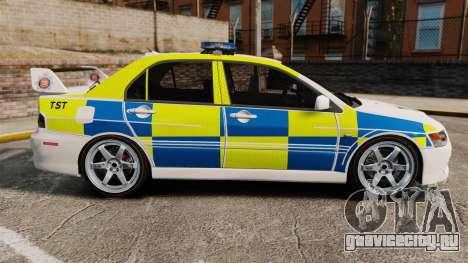 Mitsubishi Lancer Evolution IX Uk Police [ELS] для GTA 4 вид слева