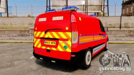 Mercedes-Benz Vito Metropolitan Police [ELS] для GTA 4 вид сзади слева