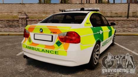 BMW 330i Ambulance [ELS] для GTA 4 вид сзади слева