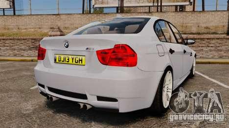 BMW M3 Unmarked Police [ELS] для GTA 4 вид сзади слева