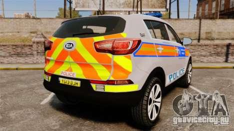 Kia Sportage Metropolitan Police [ELS] для GTA 4 вид сзади слева