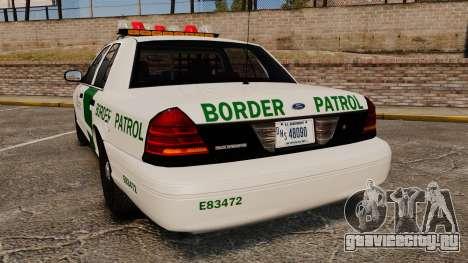 Ford Crown Victoria 1999 U.S. Border Patrol для GTA 4 вид сзади слева