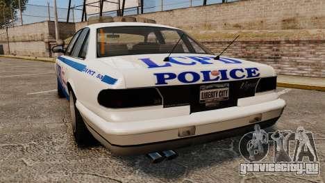 Vapid Police Cruiser v2.0 для GTA 4 вид сзади слева