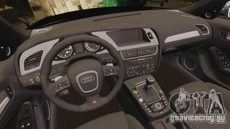 Audi S4 Police [ELS] для GTA 4 вид изнутри