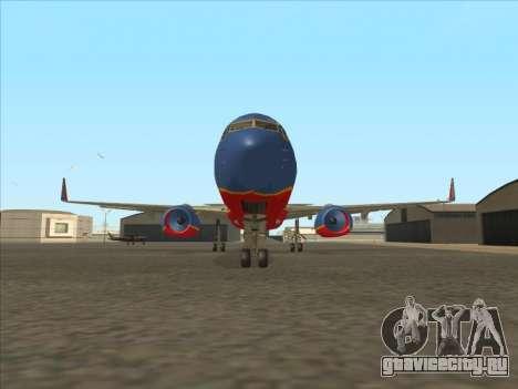 Boeing 737 Southwest Airlines для GTA San Andreas вид изнутри