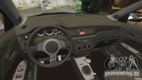 Mitsubishi Lancer Evolution IX Uk Police [ELS] для GTA 4 вид изнутри