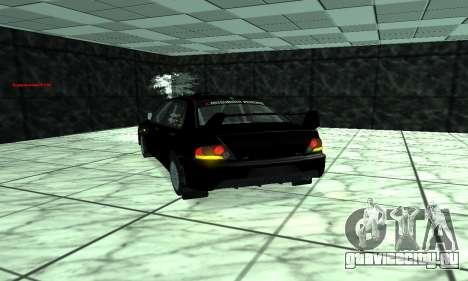 Mitsubishi Lancer Evo 9 для GTA San Andreas вид изнутри
