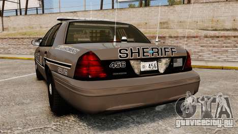 Ford Crown Victoria 2008 Sheriff Patrol [ELS] для GTA 4 вид сзади слева