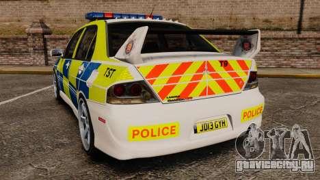 Mitsubishi Lancer Evolution IX Uk Police [ELS] для GTA 4 вид сзади слева