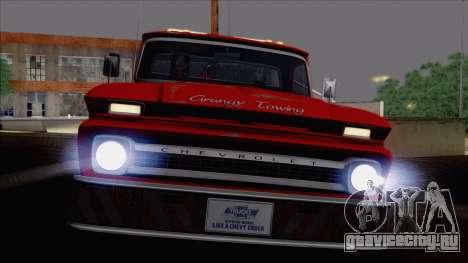 Chevrolet C20 Towtruck 1966 1.01 для GTA San Andreas вид сзади