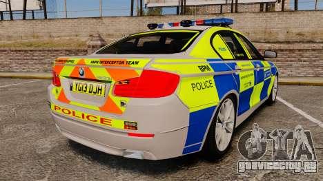 BMW 550i Metropolitan Police [ELS] для GTA 4 вид сзади слева