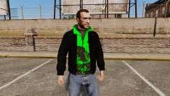 Чёрная куртка с зелёной олимпийкой