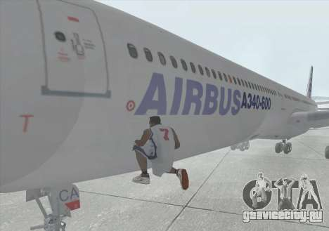 Airbus A340-600 для GTA San Andreas вид изнутри