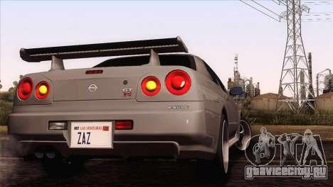 Nissan Skyline GT-R R34 V-Spec Lexani Rims для GTA San Andreas вид сзади слева