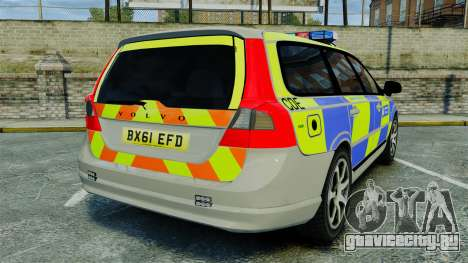 Volvo V70 Metropolitan Police [ELS] для GTA 4 вид сзади слева