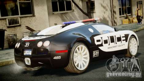 Bugatti Veyron 16.4 Police NFS Hot Pursuit для GTA 4 вид слева